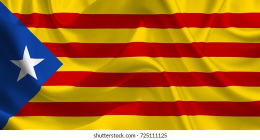 Estelada Blava. Waving flag of the Catalonia. Catalan Flag in the Wind. Catalan Independent mark. Waving Catalonia Flag. Catalonia Flag Flowing. 3d illustration.