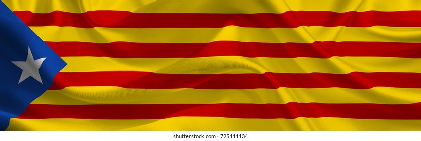Estelada Blava. Waving flag of the Catalonia. Catalan Flag in the Wind. Catalan Independent mark. Waving Catalonia Flag. Catalonia Flag Flowing. 3d illustration.