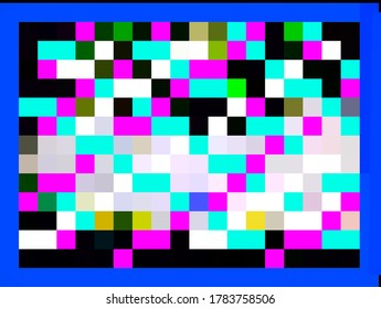 An esthetic digital blue bordered pattern of colorful illustration of tiles or squares and rectangles with black and white notional backdrop.