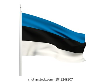 Estonia flag floating in the wind with a White sky background. 3D illustration.