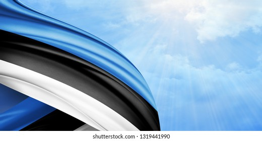 Estonia flag of silk with copyspace for your text or images and sky background-3D illustration