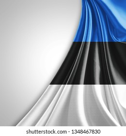 Estonia flag of silk with copyspace for your text or images and White background-3D illustration
