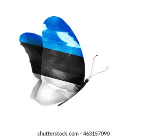 Estonia watercolor flag butterfly, isolated on white
