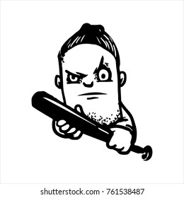 Etched illustration. Engraved sticker. Dark humor jokes. Contemporary street art work. Hand drawn sketch of a gangster with a baseball bat.