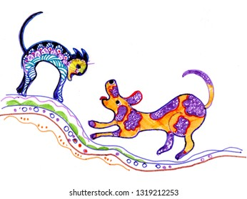 the eternal battle of dogs and cats painted by felt-tip pen