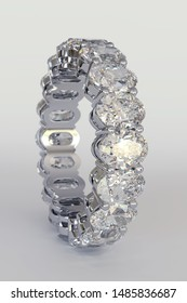 Eternity diamond ring, oval cut, shared prong setting, on white background. 3D illustration