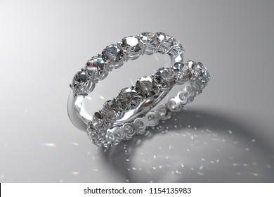 Eternity and half eternity wedding bands with round cut diamonds, shared prong setting,  standing on white background, rear light,  caustics rays. 3D rendering