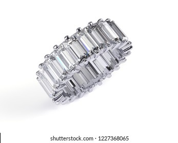Eternity ring with baguette cut diamonds isolated on white background. 3d illustration