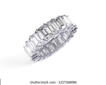 Eternity ring with emerald cut diamonds isolated on white background. 3d illustration