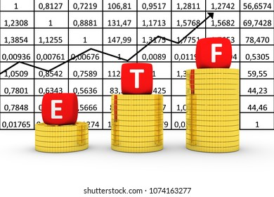 ETF concept business gold coin on the background of quotations 3d illustration
