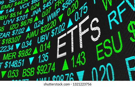 ETFs Exchange Traded Funds Stock Market Investment 3d Illustration