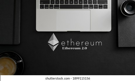 Ethereum 2.0 Digital Currency - Cryptocurrency For website or banner with notebook computer background 3d illustration