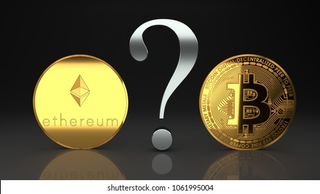 Ethereum and bitcoin, eth and btc, two rival digital, cyberspace crypto currencies that are rapidly raising in value and revolutionize currencies market, payments and digital economy, 3d illustration