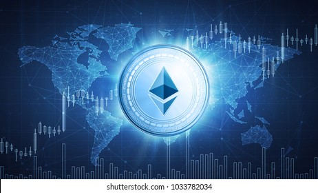 Ethereum cash cryptocurrency coin on hud background with bull trading stock chart and polygon world map. Blockchain technology network token grows in price on stock market concept.