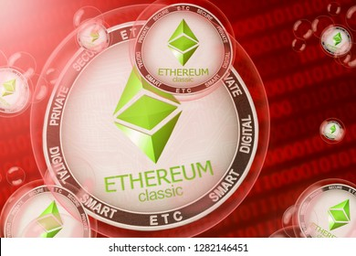 Ethereum classic crash; ethereum classic (ETC) coins in a bubbles on the binary code background. Close-up. 3d illustration