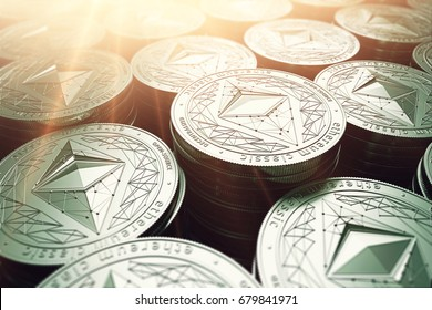 Ethereum classic (ETC) coins in blurry closeup with sunburst from above. Ethereum classic growth concept. 3D rendering.