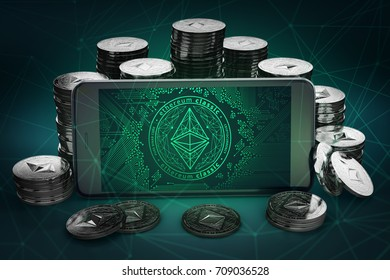 Ethereum Classic symbol on-screen among piles of Dash coins. 3D rendering