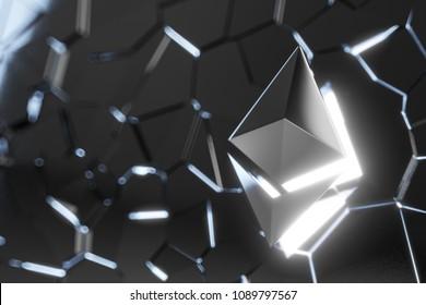 Ethereum coin logo over collapsing black surface. 3D render.