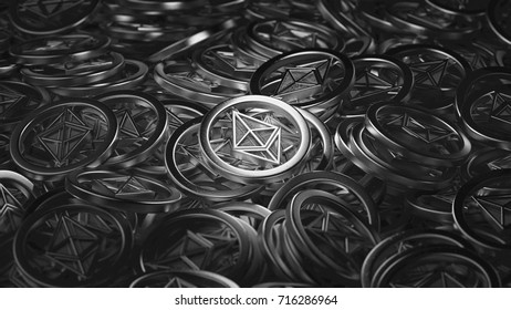 Ethereum Coins 3d illustration BW
