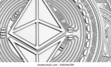 Ethereum coins closeup background cryptocurrency concept 3D illustration