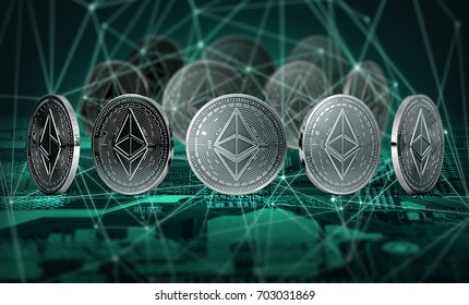 Ethereum coins connected with blockchain nodes standing on motherboard. Ethereum and blockchain concept. 3D Illustration.