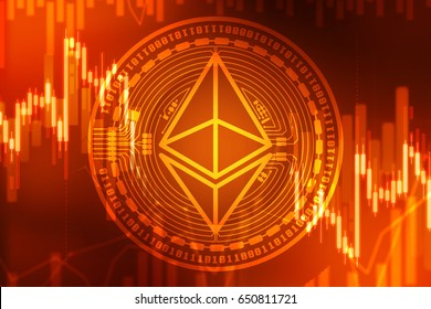 Ethereum crisis concept with Ether symbol on red and orange background (new virtual money)