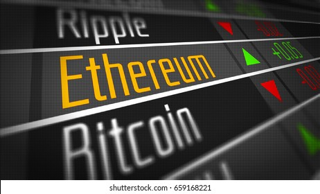 Ethereum Crypto Currency Market as concept. Financial markets and virtual currency values 3D Illustration.