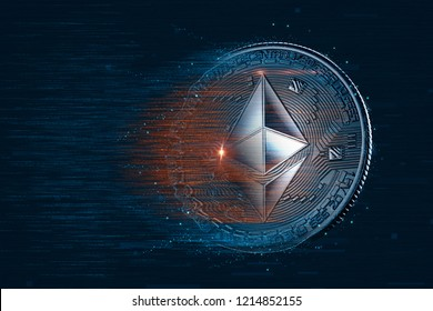 Ethereum digital currency. 3D illustration. Contains clipping path.