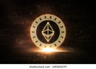 Ethereum - ETH - 3D Cryptocurrency Neon Coin