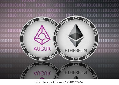 Ethereum (ETH) and Augur (REP) coins on the binary code background; ethereum vs augur