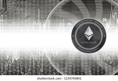 Ethereum (ETH) digital crypto currency. Ether coin. Cyber money.