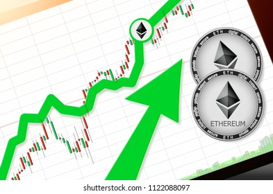 Ethereum (ETH) index rating go up on exchange market; cryptocurrency chart on tablet pc (smartphone) with arrow pointing up and coins ethereum. Place for text (prices); top view