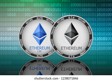 Ethereum (ETH) and Ethereum Lite (ELITE) coins on the binary code background