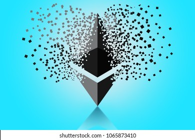 ethereum growth graph on blue background. Ethereum hype concept  illustration with blank space for text.
