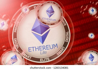 Ethereum Lite crash; Ethereum Lite (ELITE) coins in a bubbles on the binary code background. Close-up. 3d illustration