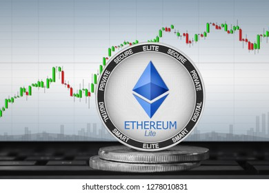 Ethereum Lite; cryptocurrency coins - Ethereum lite on the background of the chart. 3d illustration