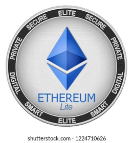 Ethereum Lite (ELITE) coin isolated on white background; ethereum lite cryptocurrency