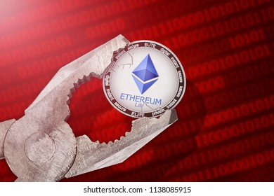 Ethereum Lite (ELITE) coin is under pressure. Concept of the regulation or control of Ethereum Lite (elite) cryptocurrency; limitation; prohibition
