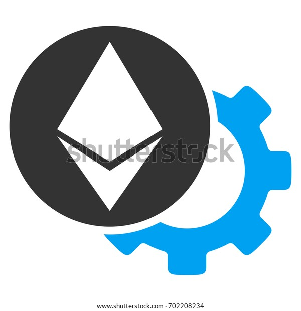 Ethereum Settings Gear flat raster illustration for application and web design.