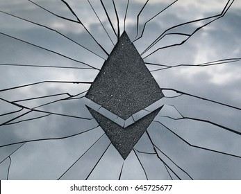 Ethereum shaped crack on the glass surface