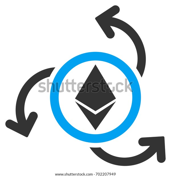 Ethereum Source Swirl flat raster pictograph for application and web design.
