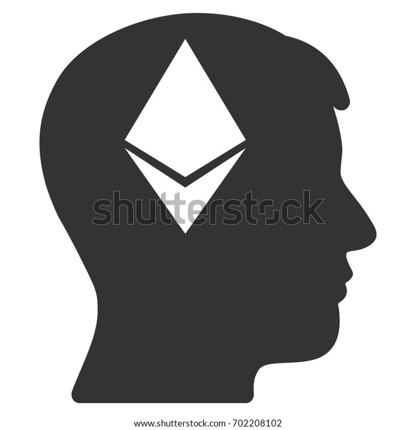 Ethereum Thinking Head flat raster icon for application and web design.