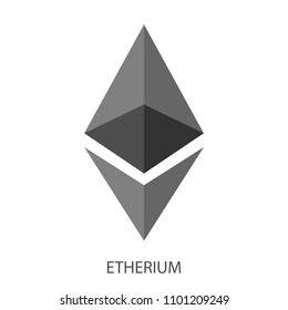 Etherium logo on white background. Grey colors. Minimalistic desighn.