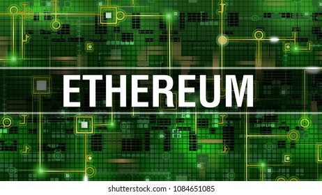 Etherium new Bitcoin on information technology style background. Etherium cryptocurrency coin. Crypto currency etherium. e-currency etherium on green background to cryptocurrency mining farm equipment