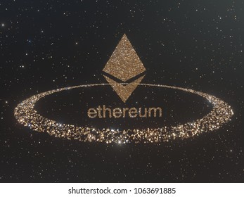 Etherium surrounded by Golden coins, cryptocurrency, monero, litecoin, bitcoin. The symbol of the international monetary system, crypto-currencies. 3d rendering illustration.