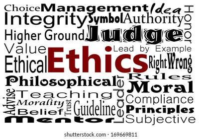 Ethics and compliance concept with word collage