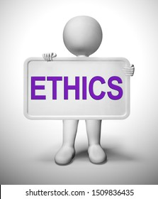 Ethics Concept icon means moral code or ethical principles. Being honest and having scruples - 3d illustration