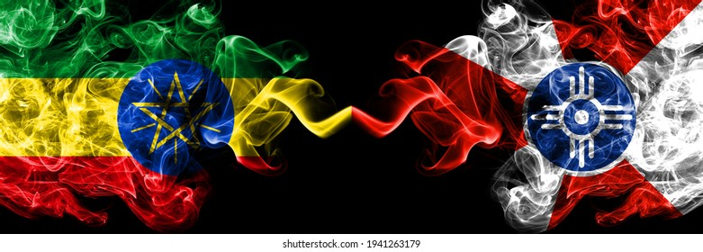 Ethiopia, Ethiopian vs United States of America, America, US, USA, American, Wichita, Kansas smoky mystic flags placed side by side. Thick colored silky abstract smoke flags.