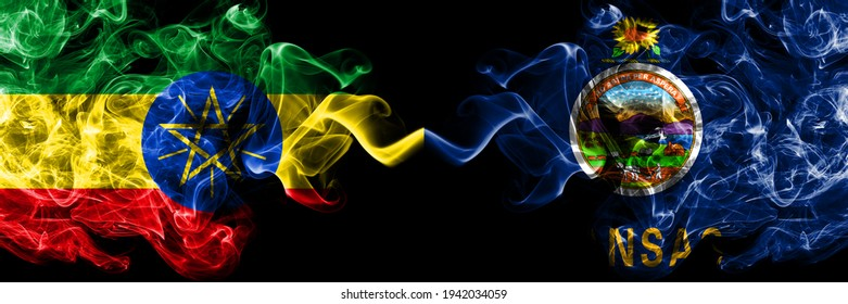 Ethiopia, Ethiopian vs United States of America, America, US, USA, American, Kansas smoky mystic flags placed side by side. Thick colored silky abstract smoke flags.