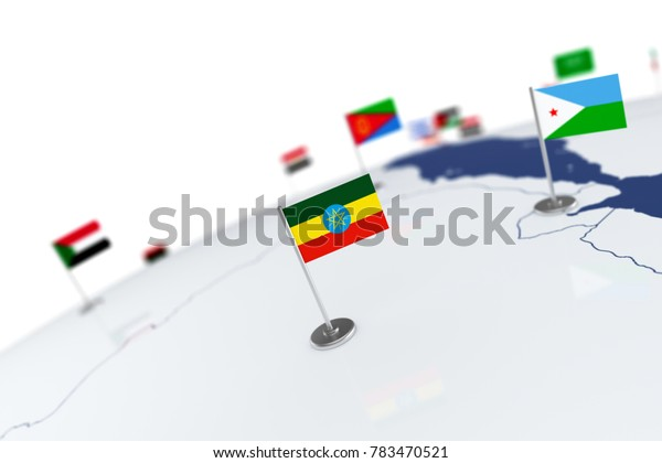 Ethiopia flag. Country flag with chrome flagpole on the world map with neighbors countries borders. 3d illustration rendering flag